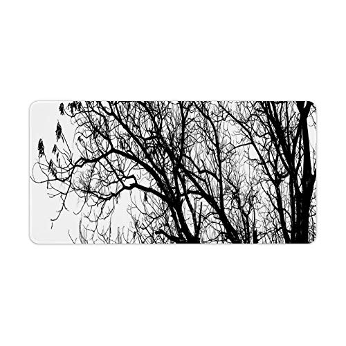 Extended Gaming Mouse Pad with Stitched Edges Large Keyboard Mat Non-Slip Rubber Base Leafless Autumn Fall Tree Branches Tops Oak Forest Woodl Season Eco Desk Pad for Gamer Office 12x24 Inch