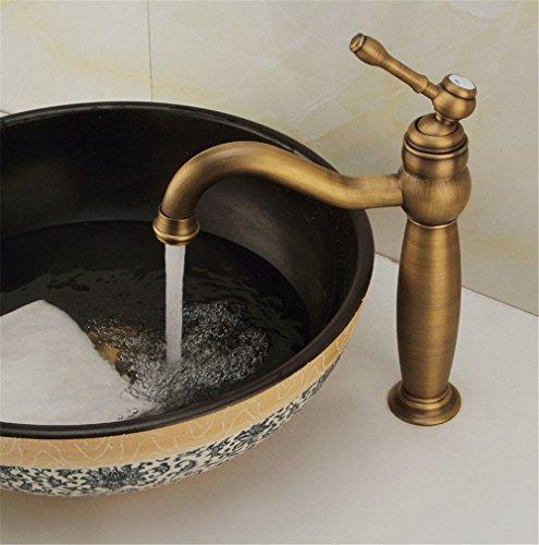 Grifo mezclador para lavabo, WATER TOWER moderno con cuerpo de llave de latón, grifo antiguo de cobre para agua caliente y fría que se eleva por encima de la encimera del lavabo, grifo giratorio de un solo agujero