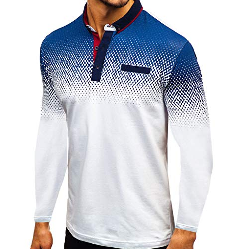Polo para Hombre Mangas Largas Yvelands Camisas Gradiente Slim Fit Camiseta Golf Ropa Deportiva Poloshirt T-Shirt Oficina Botón Cuello Solapa Pullover