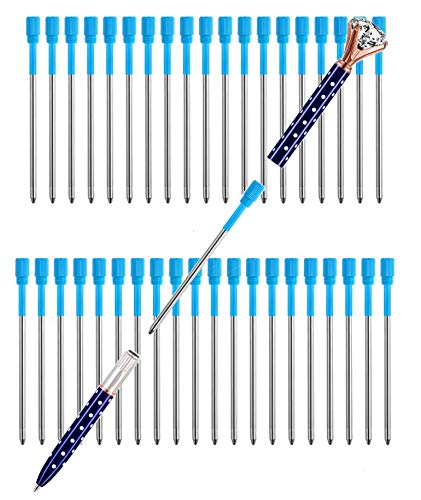 Pen Refills Pack of 40 Replacement Ballpoint 3.2'' inch for Pens with Big Diamond Crystal on Top Diamond Crystal Stylus Pens Metal Refill in Storage Case Medium (Blue)