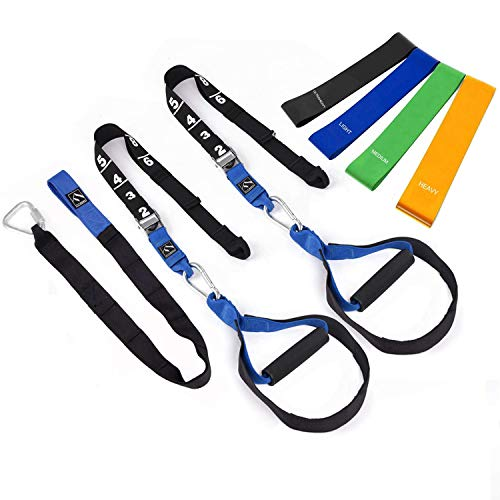 FITINDEX Bodyweight Resistance Trainer Kit, Home Suspension Training Straps, Fitness Resistance Trainer with Anchor Point and Resistance Loop Bands, Full Body Workout for Indoor or Outdoor Gym