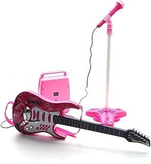 Guitare rock avec cordes en acier, amplificateurs, support réglable et microphone - Guitare rock pour enfants - Guitare en...
