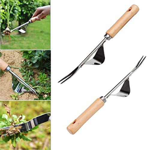 Tangger 2 STK Hand Weeder Jäter Werkzeug Gartengerät Edelstahl Unkrautstecher Unkrautjäter Wurzeljäter mit Naturholzgriff zum Jäten Ihres Gartens
