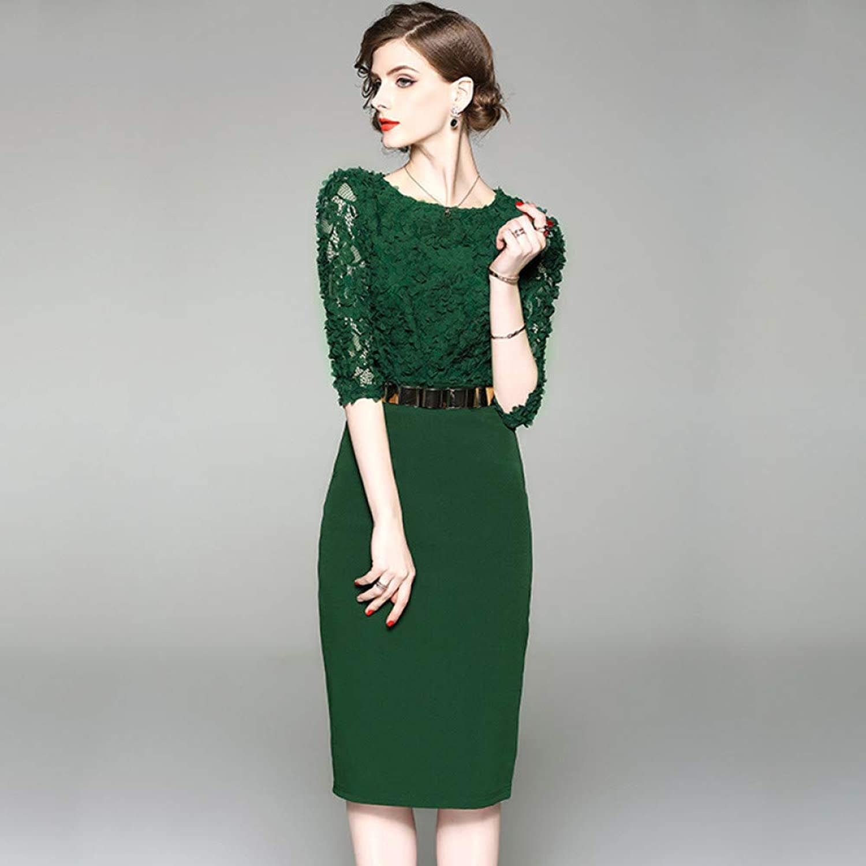 Cxlyq Dresses Tie Flower Dress Slim Green Cropped Sleeves
