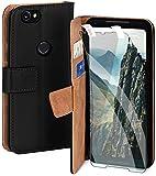moex Handyhülle für Google Pixel 2 XL - Hülle mit Kartenfach, Geldfach & Ständer, Klapphülle, PU Leder Book Hülle & Schutzfolie - Schwarz