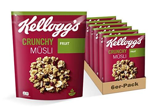 Kellogg's Crunchy Müsli Fruit | Knuspermüsli mit Frucht-Geschmack | 6er Vorratspack | 6 x 500g