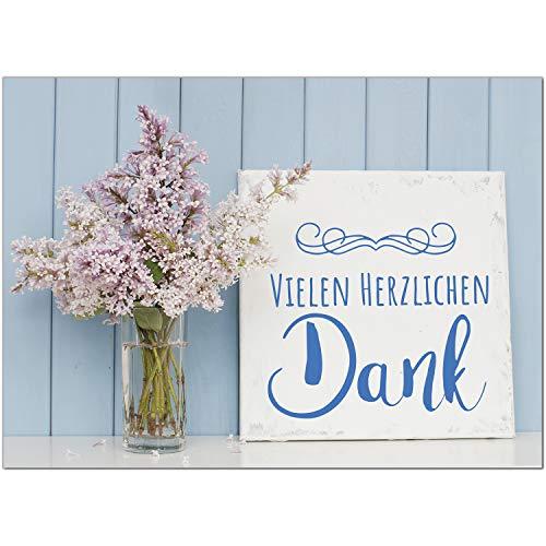 15 x Dankeskarten mit Umschlag - Flieder Blumen Vintage - Danksagungskarten, Danke sagen, nach Hochzeit, Geburt, Baby, Taufe, Geburtstag, Kommunion, Konfirmation, Jugendweihe