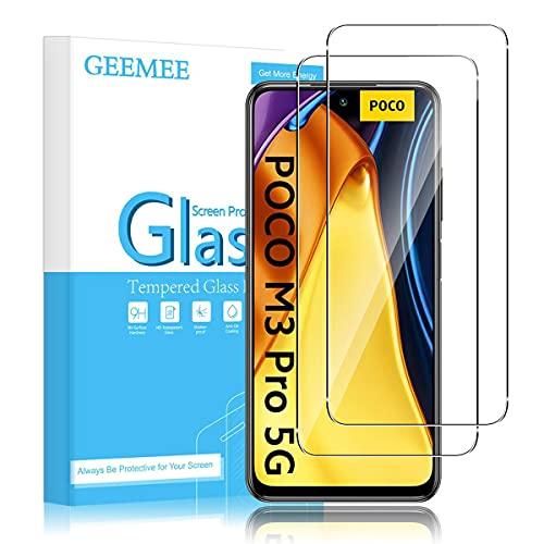 GEEMEE für Xiaomi Poco M3 Pro 5G/Redmi Note 10 5G Protector de Pantalla,2 Pack Cristal Templado Película Vidrio Templado 9H Alta Definicion Screen Protector -Transparente
