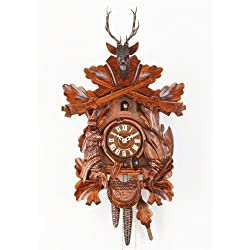 German Cuckoo Clock 8-day-movement Carved-Style 16.00 inch - Authentic black forest cuckoo clock by Hekas