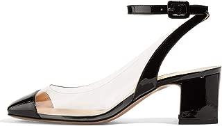 Women Round Toe High Block Heel Ankle Strap PVC Pumps Open Back Fashion Summer Sandals Size 4-15 US