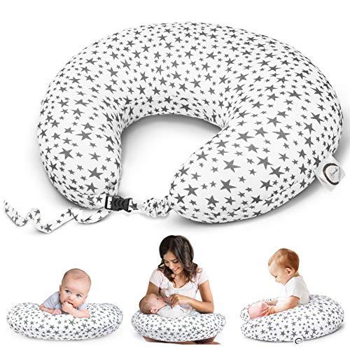 Bamibi® Cojín Lactancia Bebé Multifuncional con Broche Ajustable, Funda 100% Algodón Extraíble y Lavable, Relleno 100% Poliéster (Estrellas)