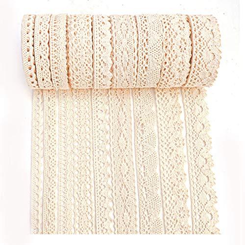 IDONGCAI - Cinta de encaje de algodón con adornos de encaje vintage para envolver paquetes de regalo de álbum de recortes, adornos de costura de encaje para manualidades, 40.5m (4.5m cada uno)