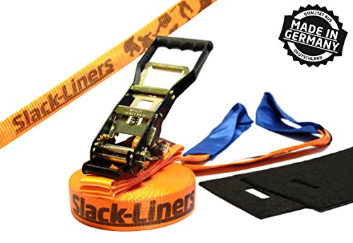 Slack-Liners 4 Teiliges Slackline-Set ORANGE - 50mm breit, 15m lang - mit Langhebelratsche Made in Germany