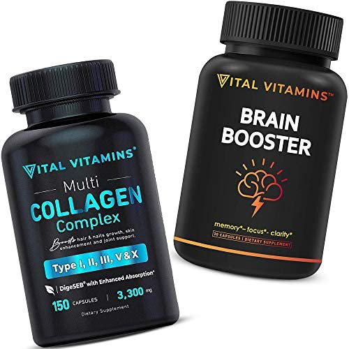 Brain Supplement Nootropics Booster and Multi Collagen Pills Types I II III V X Bundle product image