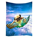 SXCHEN Hippie Tapestry Art Wall Hangings Tapestries Funny Turtle Pug Dog in The Sky 50'x60'