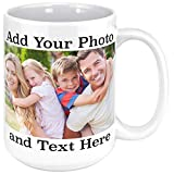 Custom Photo Coffee Mugs, 15 oz. Personalized Mugs w/Picture, Text, Name - Personalized Gifts for V Day, Boyfriend, Girlfriend, Parents, Office, Christmas Gifts, Custom Mug, Taza Personalizadas