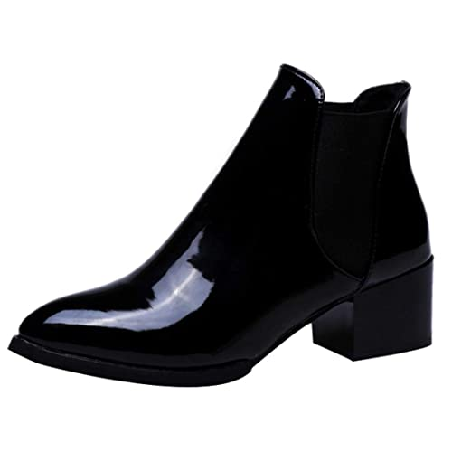 0810a712a23 Black Patent Boots: Amazon.co.uk