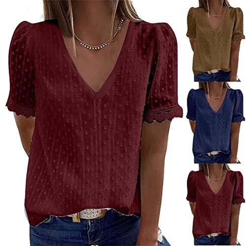 Wirziis Sommer-T-Shirts für Damen, V-Ausschnitt, modisch, lässig, Spitze, sexy, ausgestellte Ärmel, lockere Passform, Tunika, bequem, weiche Bluse (Clearance,on Sale,!! Deals of the Day!!) - I01^rot, size: Groß