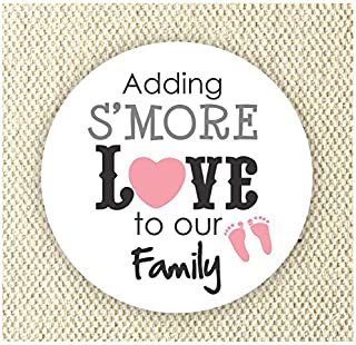 Adding S'more Love to our Family Stickers - Baby Girl Shower Stickers - Thank you for Celebrating with me Labels - Set of 40 stickers