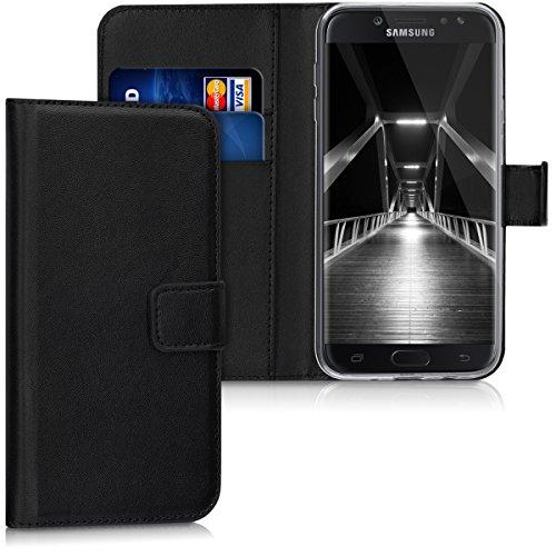 kwmobile Funda Compatible con Samsung Galaxy J7 (2017) DUOS - De Cuero sintético - Case con Tarjetero en Negro