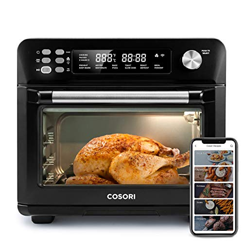 COSORI Smart 12-in-1 Air Fryer Toaster Oven Combo, Countertop Dehydrator for Chicken, Pizza and Cookies, Christmas Gift, Work with Alexa, 25L, Black (Renewed)