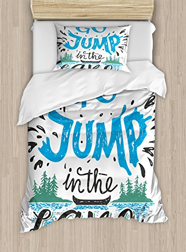 Ambesonne Cabin Duvet Cover Set, Vintage Typography Inspirational Words Lake Sign Canoe Fishing Sports Theme, Decorative 2 Piece Bedding Set with 1 Pillow Sham, Twin Size, Black Green