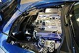 American Car Craft 053013-BLU Blue Carbon Fiber Fluid Cap Cover Set, 5 Piece (Corvette Flag Emblem)