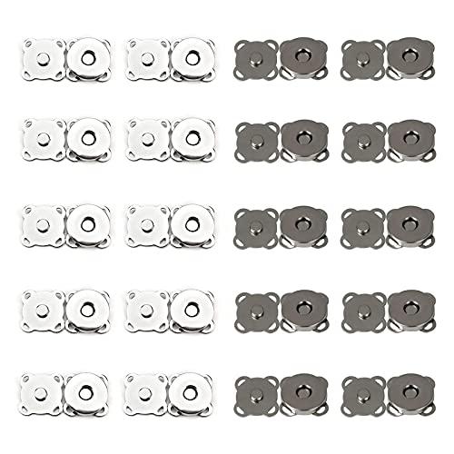 Broche Magnético Cierres de PresióN MagnéTicos Botones de Cierre MagnéTico Hebilla Magnética Para Ropa BotóN Magnético de Metal Para Costura Manualidades Ropa Bolso Scrapbooking y Más 40 Piezas