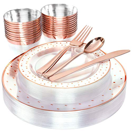 BUCLA 25guest Rose Gold Plastic Plates with Disposable Plastic Silverware&9oz Cups- Dot Plastic Dinnerware include 25 Dinner Plates, 25 Salad Plates, 25 Forks, 25 Knives, 25 Spoons,25Cups