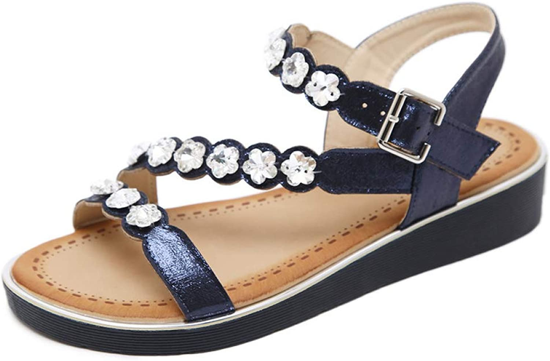 T-JULY Ladies Flat Sandals Women Platform Crystal Flower Lightweight Beach shoes Woman Slingback Gladiator shoes