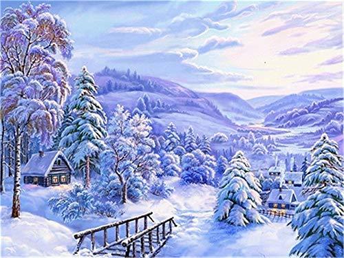 Pintura de diamante de invierno 5d DIY nieve diamante bordado mosaico paisaje decoración hecha a mano pintura de diamante A11 40x50cm