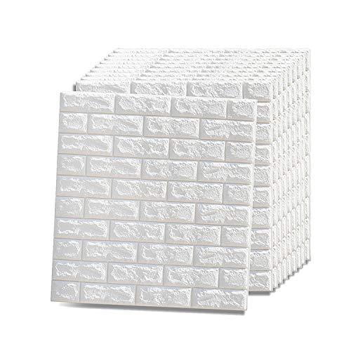 Vasen 3D Tapete Steinoptik Selbstklebend Wandpaneele Ziegeltapete Schaumstoff Wandverkleidung für Badezimmer Küchen Wohnzimmer 77 x 70 cm (10 Stk, Weiß)