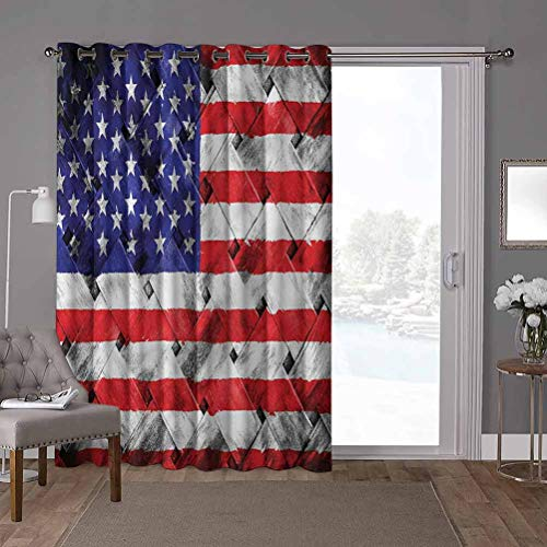 YUAZHOQI Grommet Thermal Insulated Darkening Room Divider Curtain, USA,Fourth of July Day National, W52 x L84 Inch Glass Door Curtains for Window(1 Panel)