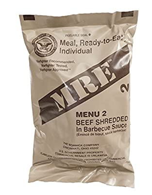 Shredded Beef Barbecue MRE Meal - Genuine US Military Surplus Inspection Date 2020 and Up