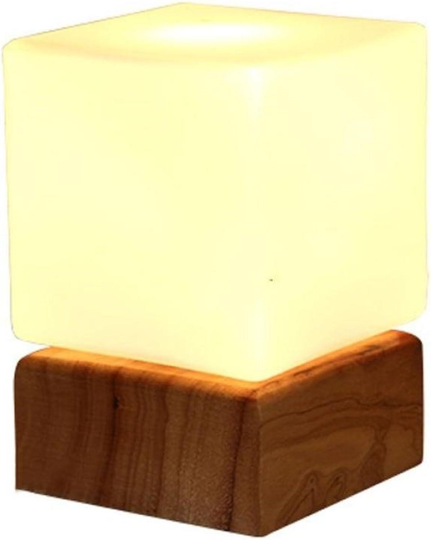 RXFRD Kreative Holztischlampe Warme Schlafzimmer Massivholz Nachttischlampe Einfaches Wohnzimmer Studie Kinder Augenschutz LED Dekorative Leuchten [Energieklasse A +]