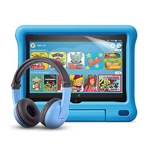 Fire HD 8 Kids-Tablet (blaue kindgerechte Hülle) + BuddyPhones PlayTime-Bluetooth-Headset (blau, Altersklasse: 3-7 Jahre) + NuPro-Bildschirmschutzfolie (2er-Pack)