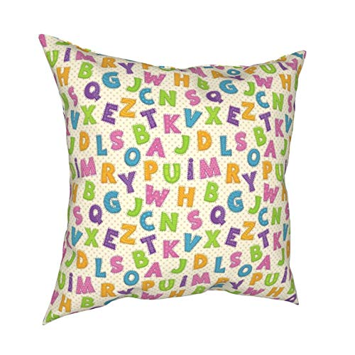 iksrgfvb Pillow Case Cushion Covers Multicolor Cartoon Children Alphabet List Square Pillowcases for Living Room Sofa 18 x 18 inch