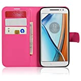 Tasche für Lenovo Moto G4 Play (5.0 zoll) Hülle, Ycloud PU Ledertasche Flip Cover Wallet Case Handyhülle mit Stand Function Credit Card Slots Bookstyle Purse Design Rose Red