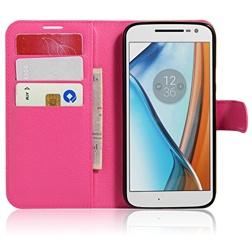 Tasche für Lenovo Moto G4 Play (5.0 zoll) Hülle, Ycloud PU Ledertasche Flip Cover Wallet Hülle Handyhülle mit Stand Function Credit Card Slots Bookstyle Purse Design Rose Red