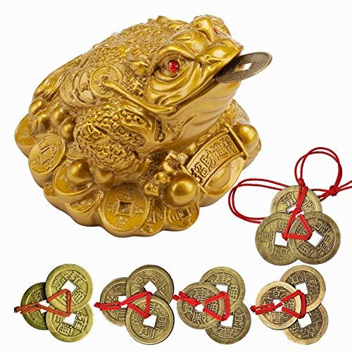 Yodoolntly Lucky Money Frog Coin- 5 Sets China Fortune Coin Lucky I-Ching Monedas con una cadena roja y 1 Feng Shui Toad Charm Satique Adornos de regalo para oficina, decoración del hogar Love of a li