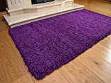 Soft Touch Shaggy Purple Thick Luxurious Soft 5cm Dense Pile Rug. Available in 7 Sizes (66cm x 120cm)
