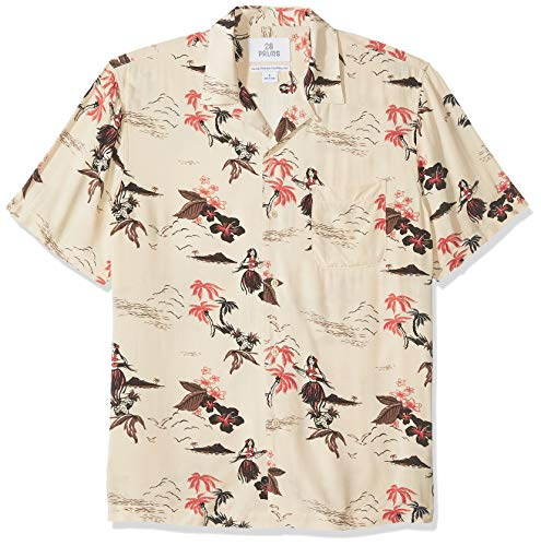 Amazon Brand - 28 Palms Men's Standard-Fit Vintage Washed 100% Rayon Tropical Hawaiian Shirt, Hula Girl Pink/Cream, X-Large
