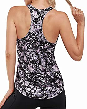 Promover Workout Tank Tops for Women - Flower Pattern Print Sleeveless Racerback Muscle Sport Shirts  Purple Flower S