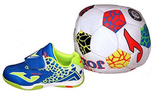 Joma Champion 604 jr Indoor Klett Kinder Hallenschuhe mit Ball, Größe:28, Farbe:blau