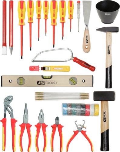 KS Tools 117.0180 Pack Herramientas, en maletín de Cuero de Vacuno Estable con Bordes de Aluminio, Set de 30 Piezas