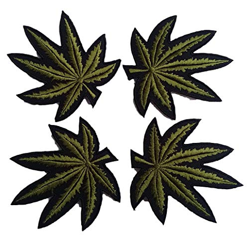 Ninefah Patches Set 4 Lot Leaf Ganja Marijuana Weed Retro Hippie Applique Iron-on Patch sew Patches for Clothes Backpacks T-Shirt Jeans Skirt Vests Scarf Hat Bag