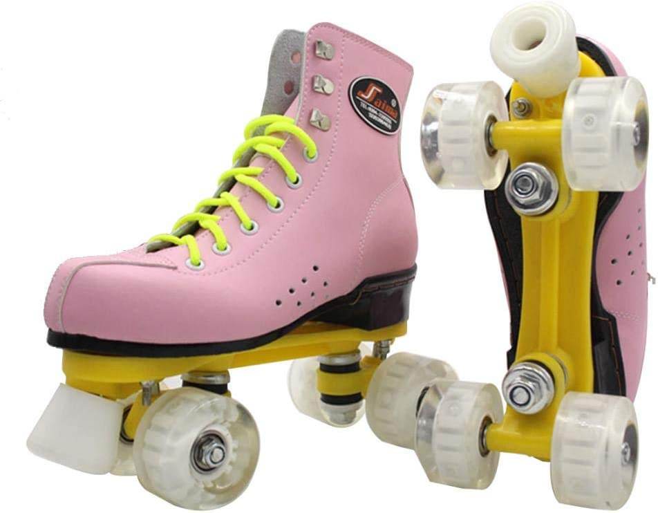 Gets Womens Roller Skates Pu Leather Four-Wheel Roller Skates High-Top Roller Skates Outdoor Shiny Roller Skates for Adults,Girls