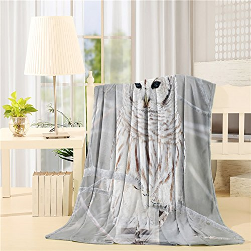 BMALL Bed Blanket 40'x50' Owl on The Tree Unique Air Conditioning Throw Blanket for Bedroom Living Rooms Sofa,Oversized Travel Throw Cover