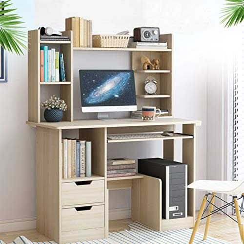 Computer Desk with Bookshelf, Space-Saving Design Home Office Desk with Storage Bookcase, Student Writing Table Study Table Laptop Desk Gaming Desk Workstation for Bedroom Study Living Room