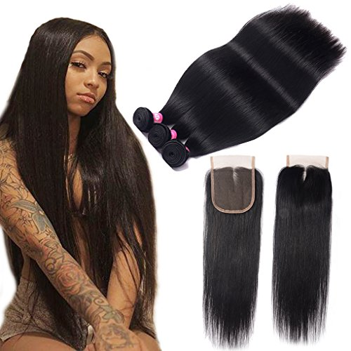 Brazilian Straight Human Hair Bundles with Closure (18 20 22+16) 10A Unprocessed Brazilian Virgin hair 3 bundles with Middle Part Lace Closure Natural Black Straight Bundles with Closure